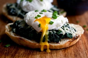 Bagel Spinach Cheese Avocado Poached Egg